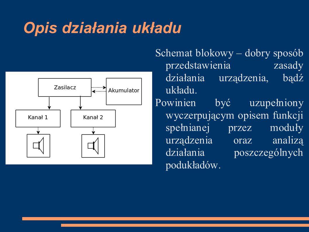 Opis działania układu Schemat blokowy – dobry sposób przedstawienia zasady działania urządzenia, bądź układu.