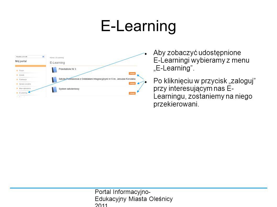 """E-Learning Aby zobaczyć udostępnione E-Learningi wybieramy z menu """"E-Learning ."""