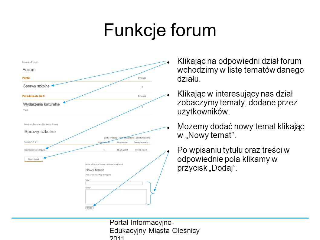 Funkcje forum Klikając na odpowiedni dział forum wchodzimy w listę tematów danego działu.