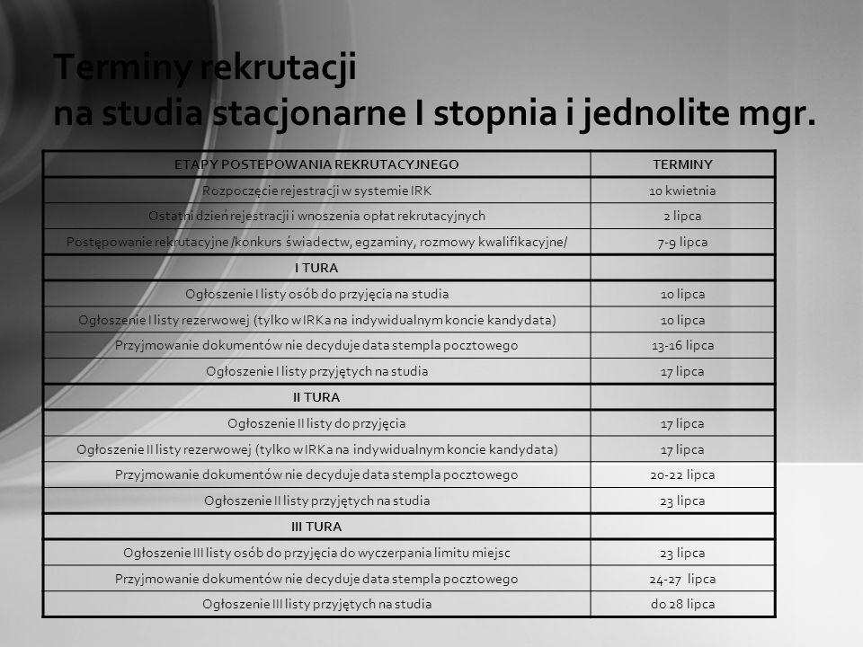 Terminy rekrutacji na studia stacjonarne I stopnia i jednolite mgr.