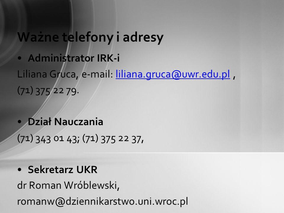 Ważne telefony i adresy