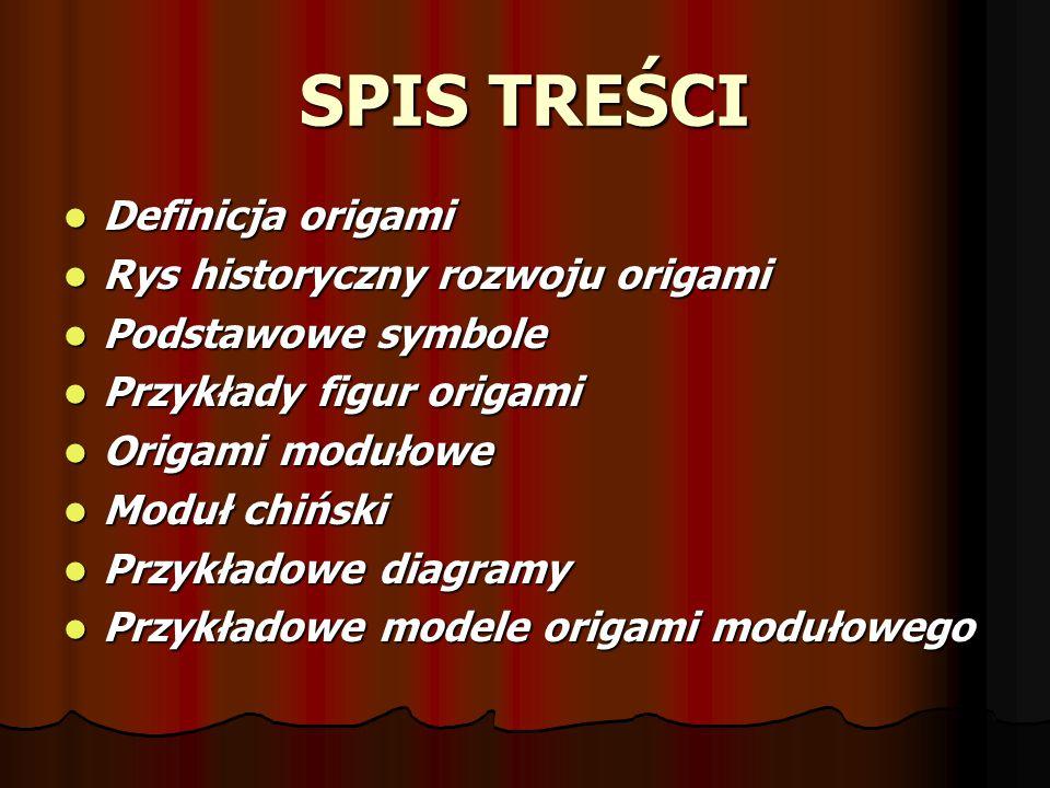 SPIS TREŚCI Definicja origami Rys historyczny rozwoju origami