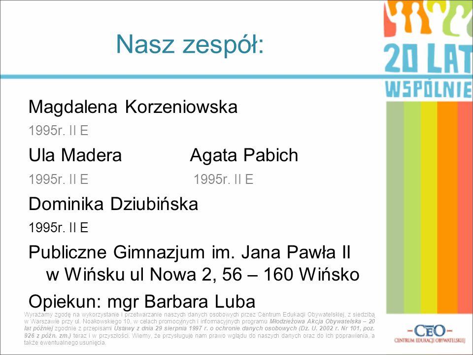 Nasz zespół: Magdalena Korzeniowska Ula Madera Agata Pabich
