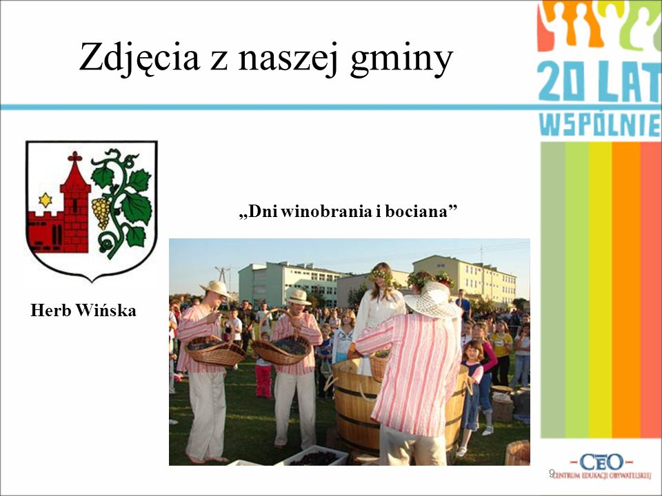 """Zdjęcia z naszej gminy """"Dni winobrania i bociana Herb Wińska 9"""