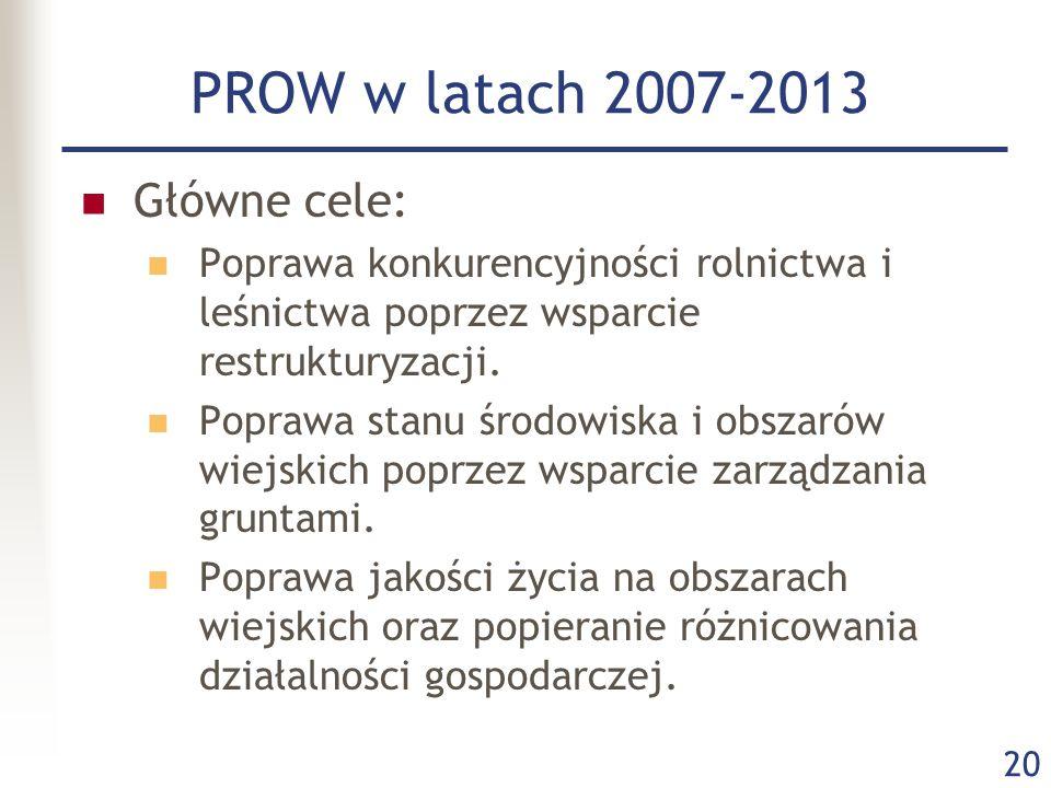 PROW w latach 2007-2013 Główne cele:
