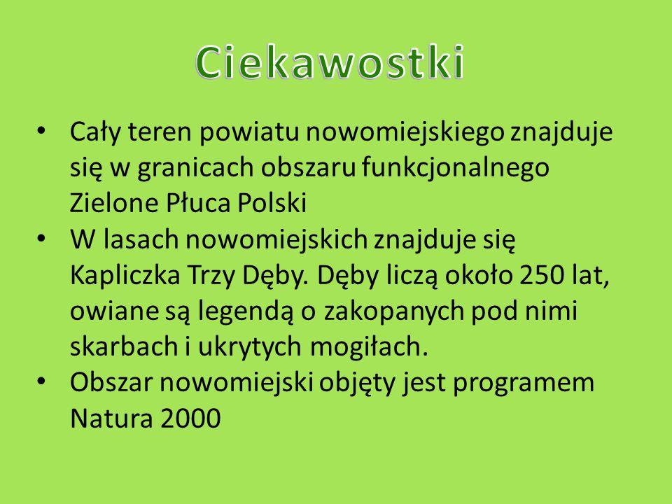 Ciekawostki Cały teren powiatu nowomiejskiego znajduje się w granicach obszaru funkcjonalnego Zielone Płuca Polski.