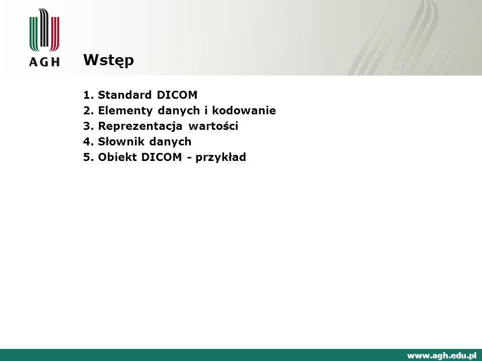 Wstęp 1. Standard DICOM 2. Elementy danych i kodowanie
