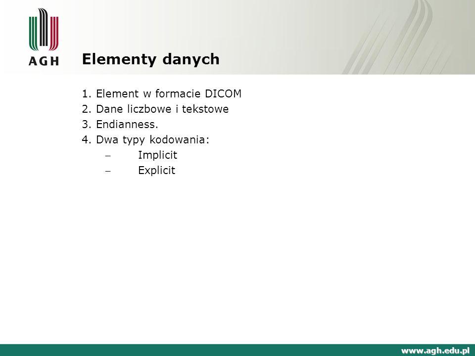 Elementy danych 1. Element w formacie DICOM