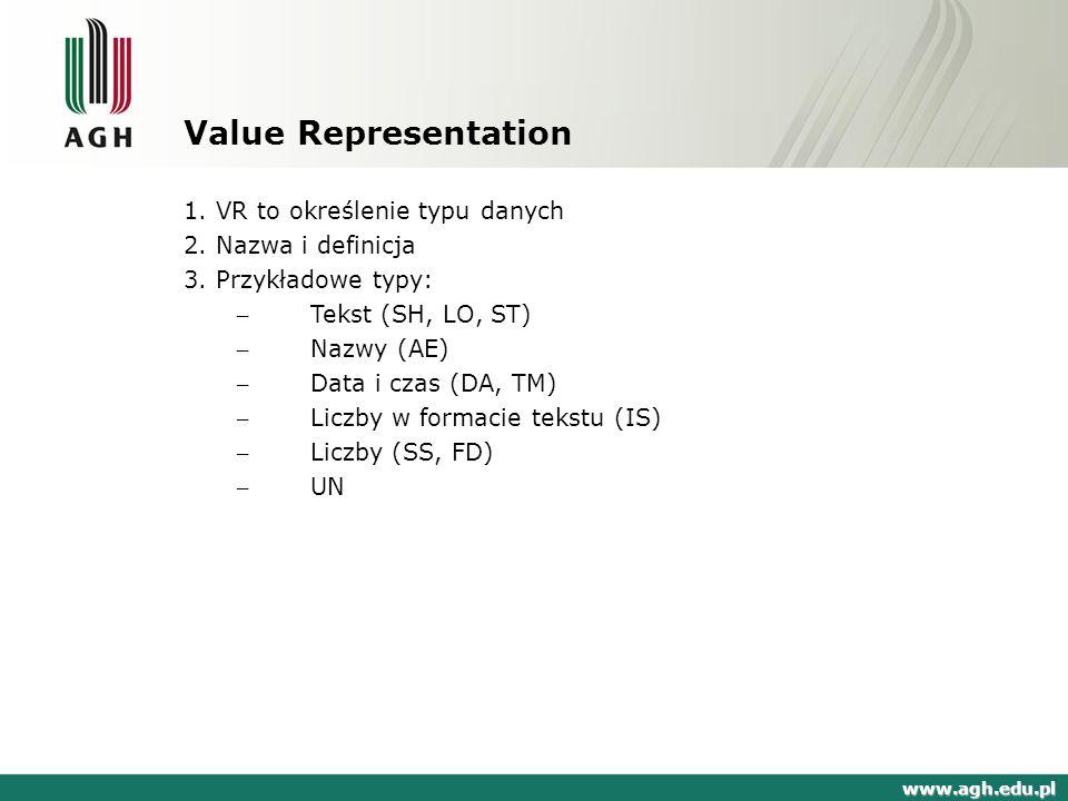 Value Representation 1. VR to określenie typu danych
