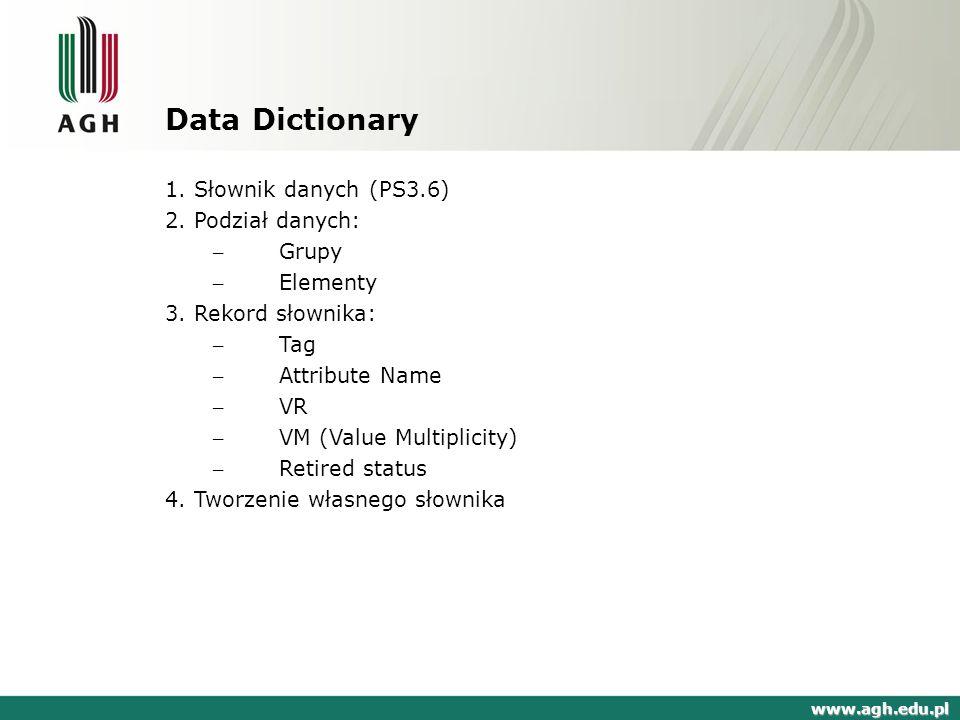Data Dictionary 1. Słownik danych (PS3.6) 2. Podział danych: Grupy