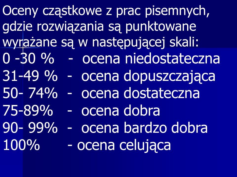 0 -30 % - ocena niedostateczna 31-49 % - ocena dopuszczająca