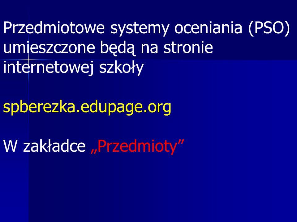 Przedmiotowe systemy oceniania (PSO)