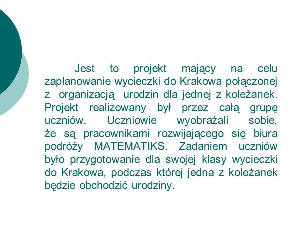 Jest to projekt mający na celu zaplanowanie wycieczki do Krakowa połączonej z organizacją urodzin dla jednej z koleżanek.