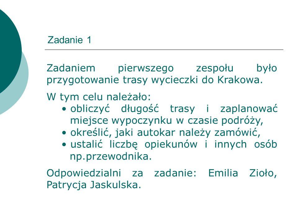 Zadanie 1 Zadaniem pierwszego zespołu było przygotowanie trasy wycieczki do Krakowa. W tym celu należało: