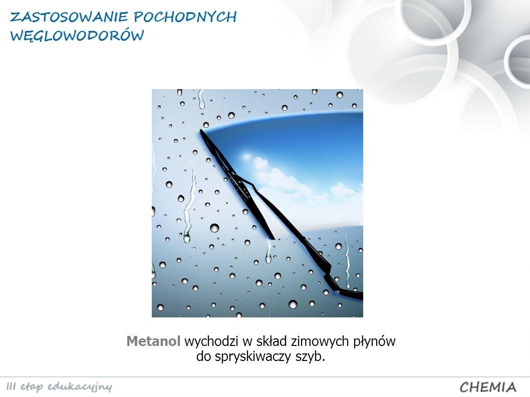 Metanol wychodzi w skład zimowych płynów do spryskiwaczy szyb.