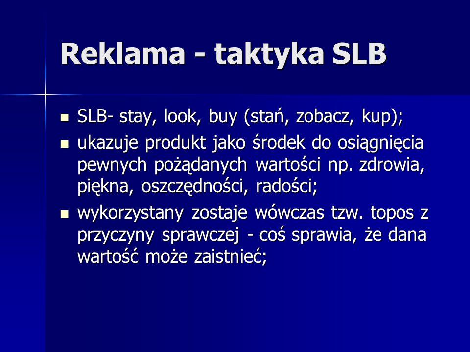 Reklama - taktyka SLB SLB- stay, look, buy (stań, zobacz, kup);