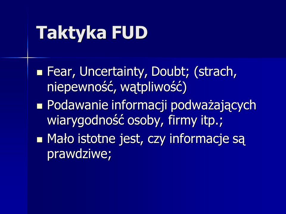Taktyka FUD Fear, Uncertainty, Doubt; (strach, niepewność, wątpliwość)