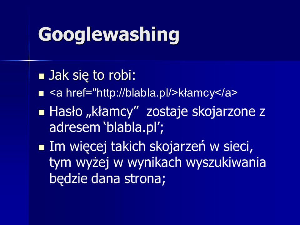 Googlewashing Jak się to robi: