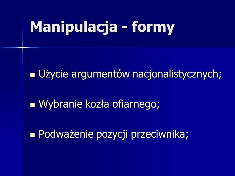 Manipulacja - formy Użycie argumentów nacjonalistycznych;