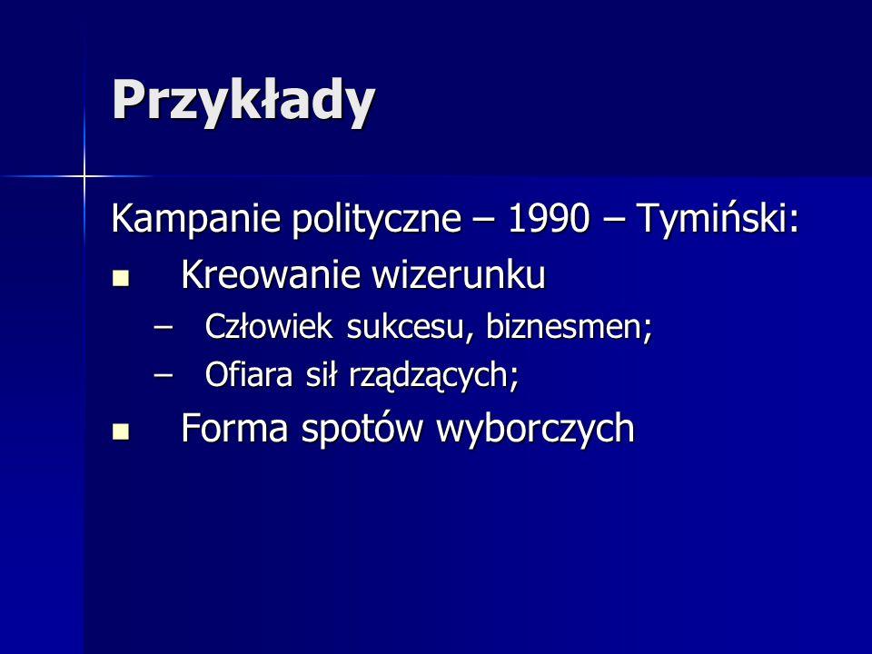 Przykłady Kampanie polityczne – 1990 – Tymiński: Kreowanie wizerunku