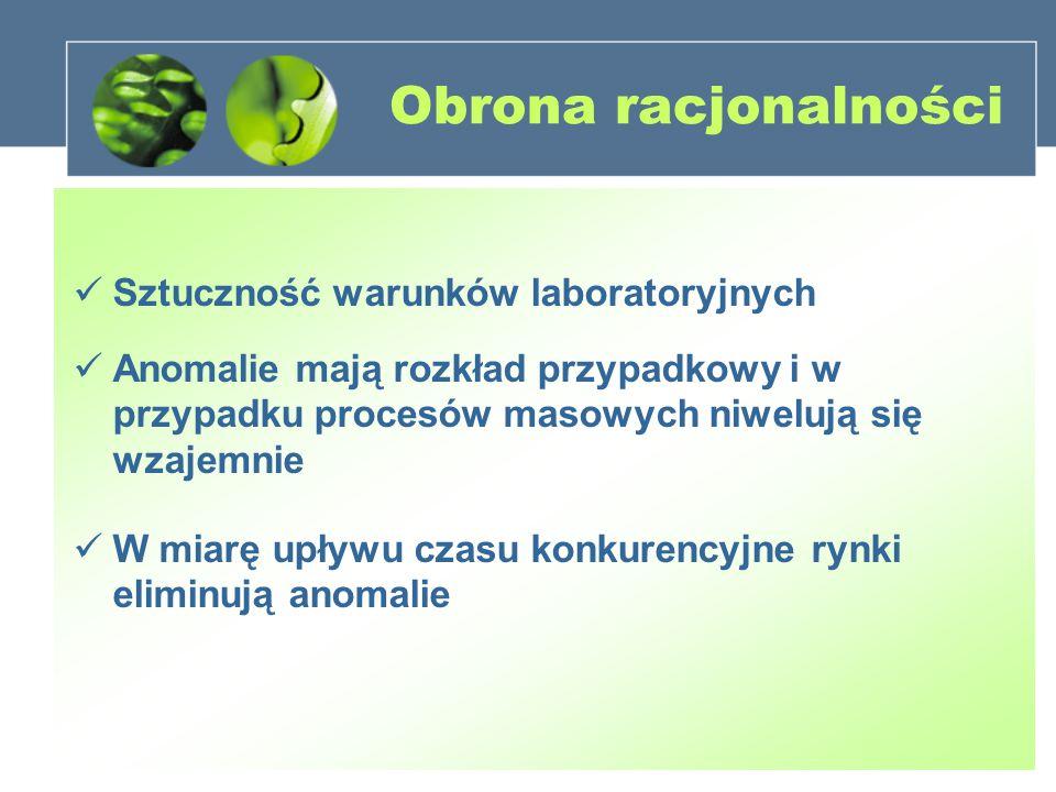 Obrona racjonalności Sztuczność warunków laboratoryjnych