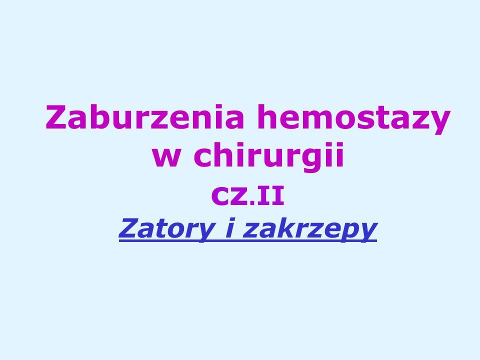 Zaburzenia hemostazy w chirurgii cz.II Zatory i zakrzepy