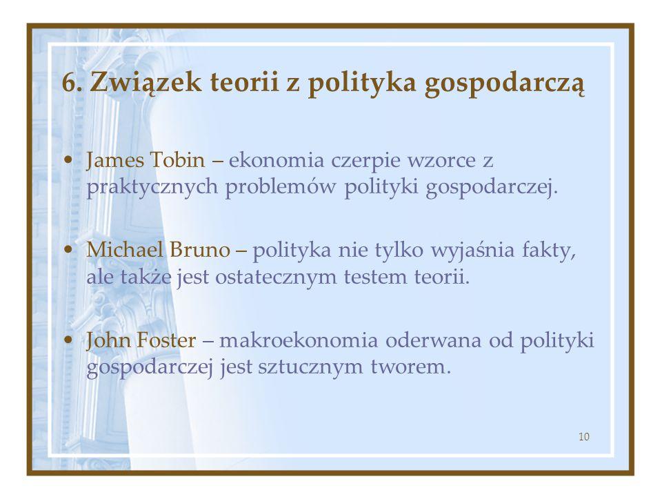 6. Związek teorii z polityka gospodarczą