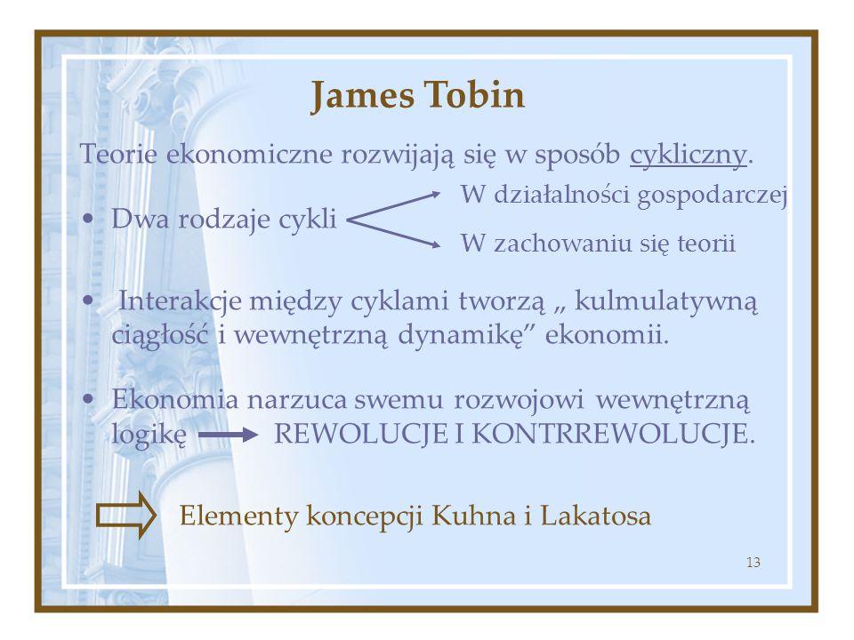James Tobin Teorie ekonomiczne rozwijają się w sposób cykliczny.