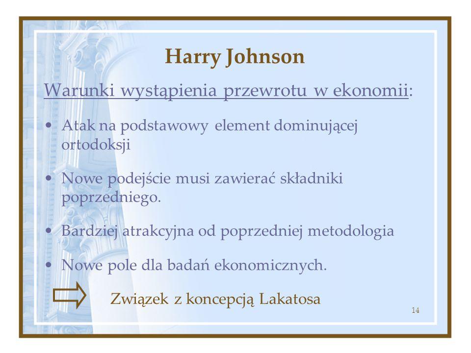 Harry Johnson Warunki wystąpienia przewrotu w ekonomii: