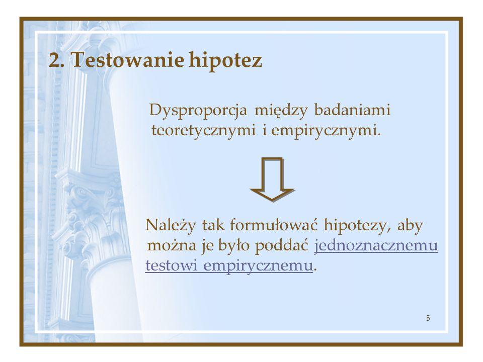 2. Testowanie hipotez Dysproporcja między badaniami teoretycznymi i empirycznymi.
