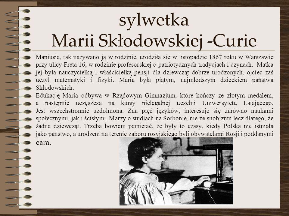 sylwetka Marii Skłodowskiej -Curie