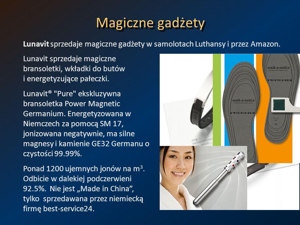 Magiczne gadżety Lunavit sprzedaje magiczne gadżety w samolotach Luthansy i przez Amazon.