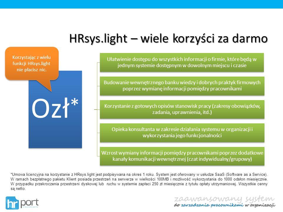 HRsys.light – wiele korzyści za darmo