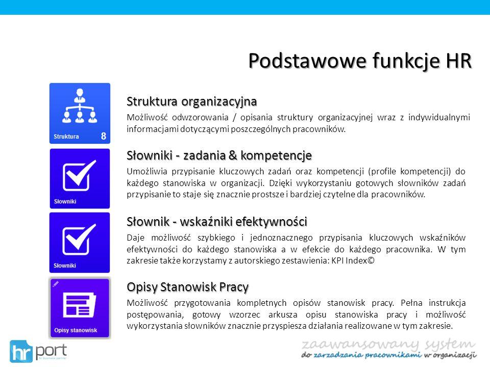 Podstawowe funkcje HR Struktura organizacyjna