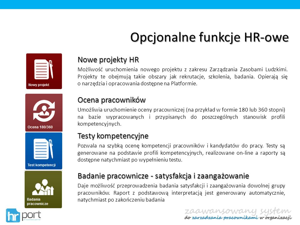 Opcjonalne funkcje HR-owe