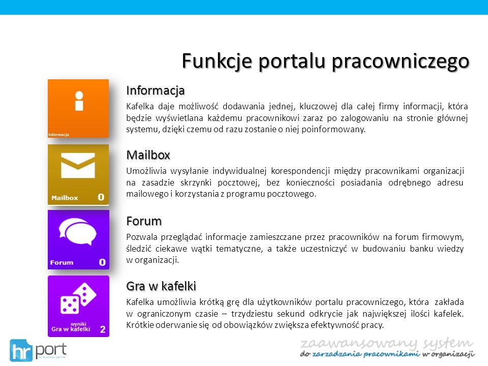 Funkcje portalu pracowniczego