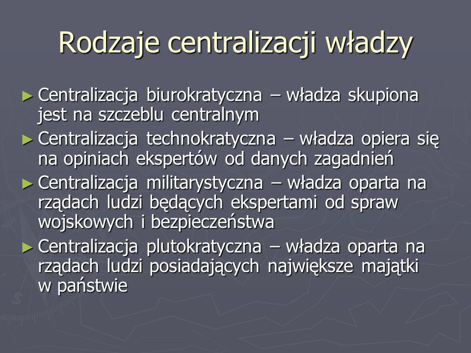 Rodzaje centralizacji władzy