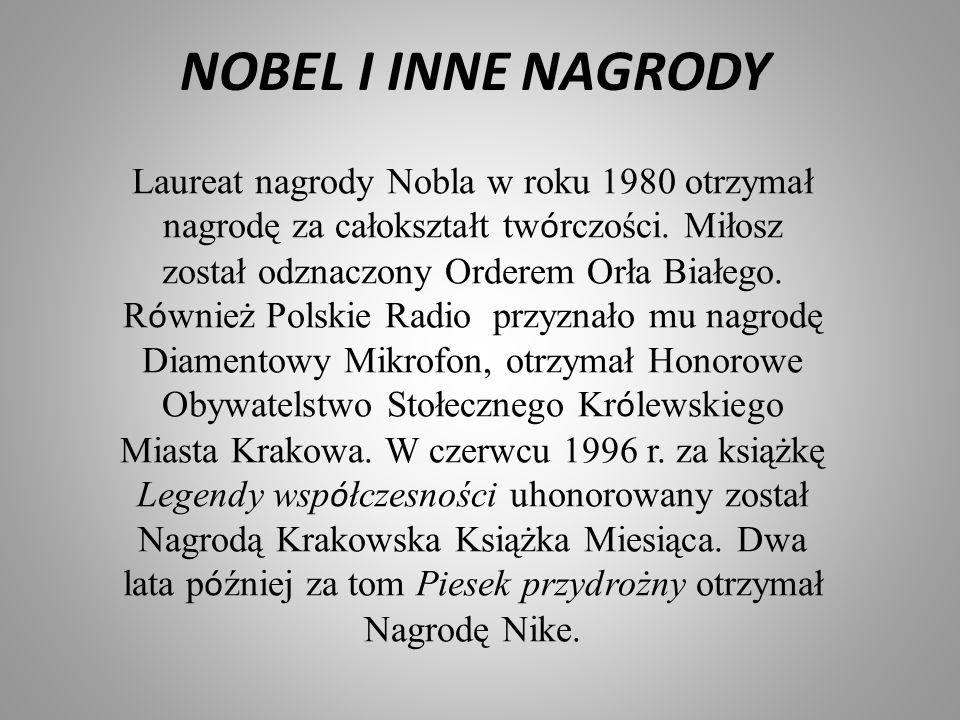 NOBEL I INNE NAGRODY