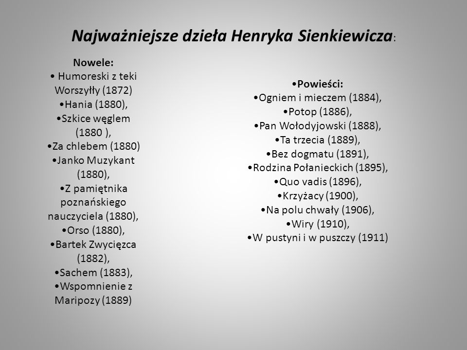 Najważniejsze dzieła Henryka Sienkiewicza: