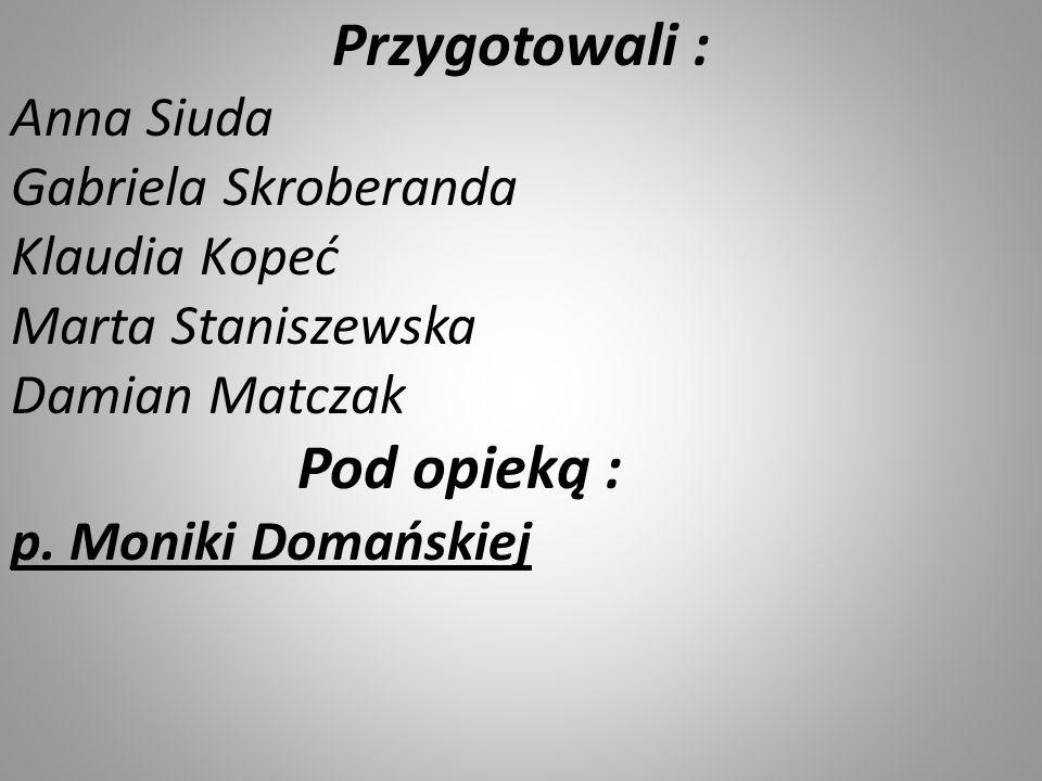 Przygotowali : Anna Siuda Gabriela Skroberanda Klaudia Kopeć Marta Staniszewska Damian Matczak.