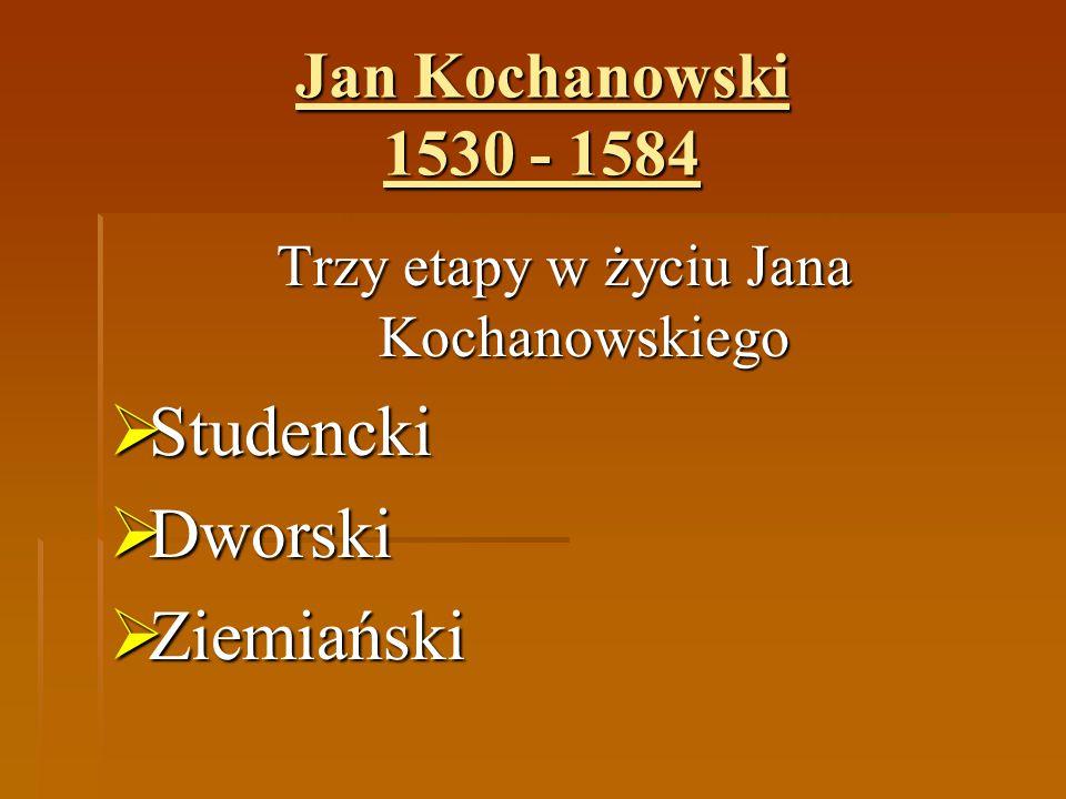 Trzy etapy w życiu Jana Kochanowskiego