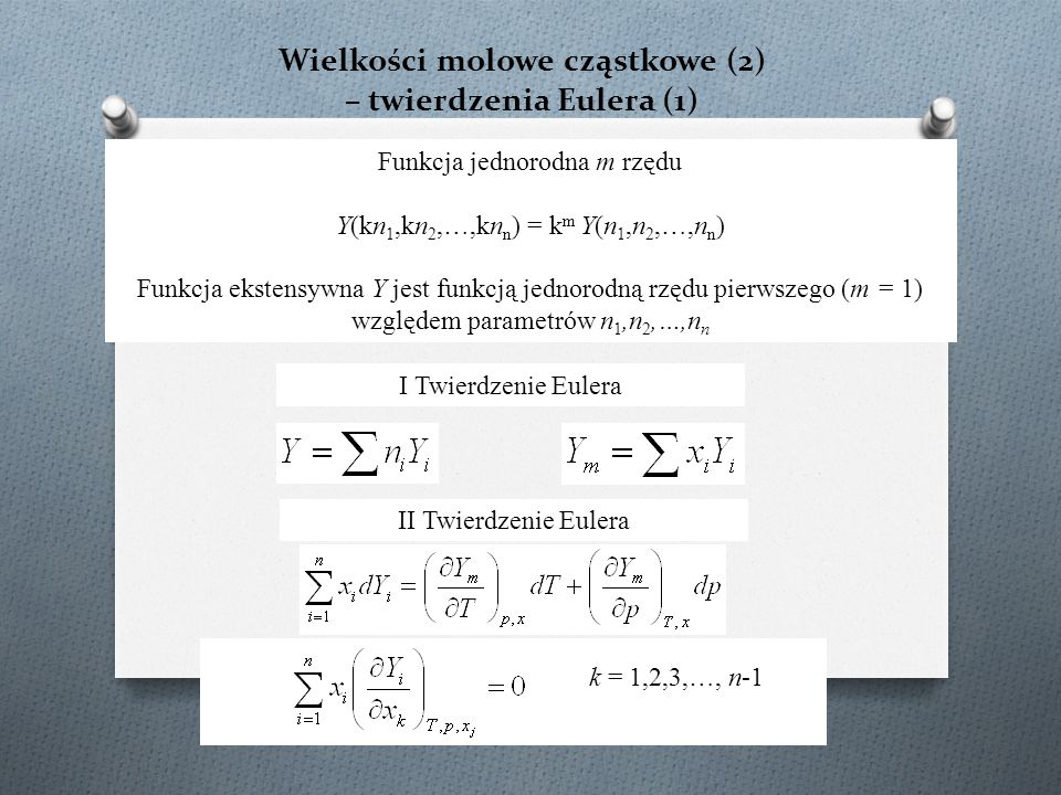 Wielkości molowe cząstkowe (2) – twierdzenia Eulera (1)
