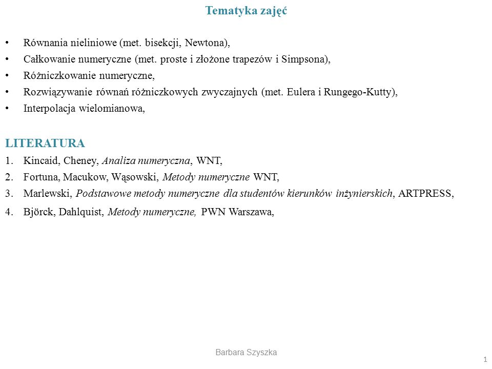 Tematyka zajęć LITERATURA