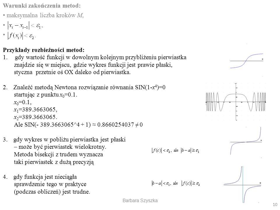 Warunki zakończenia metod: maksymalna liczba kroków M,