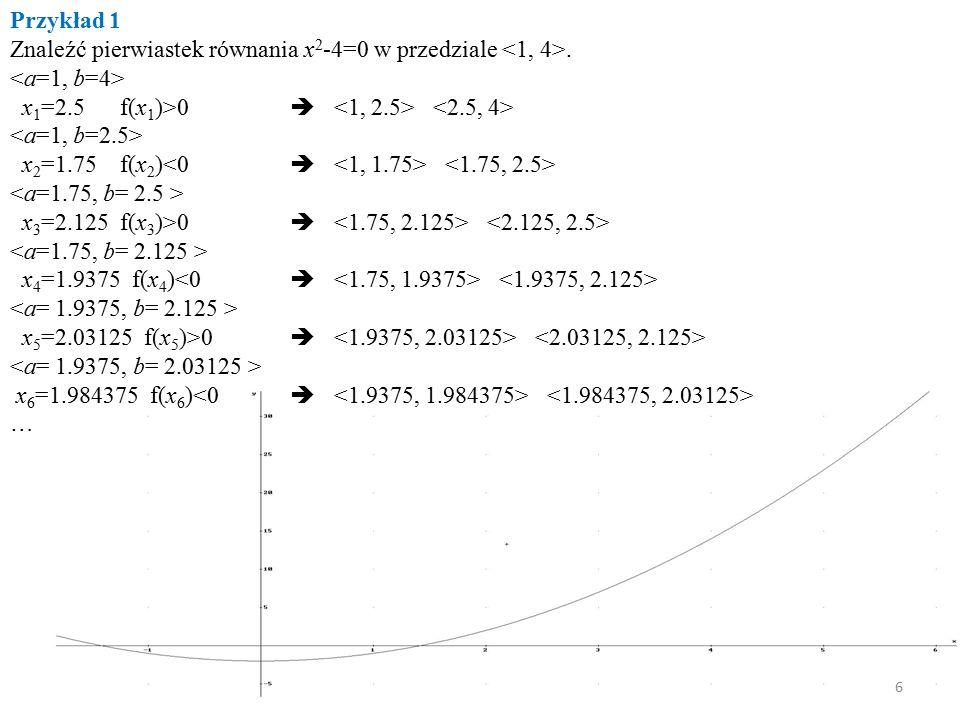 Znaleźć pierwiastek równania x2-4=0 w przedziale <1, 4>.