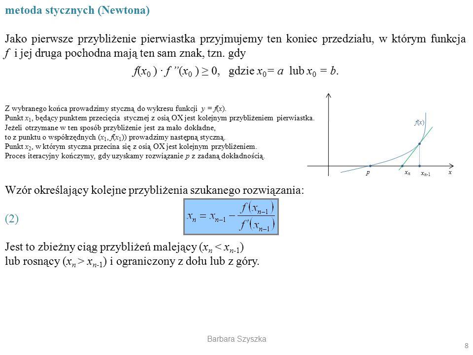 f(x0 ) · f (x0 ) ≥ 0, gdzie x0= a lub x0 = b.