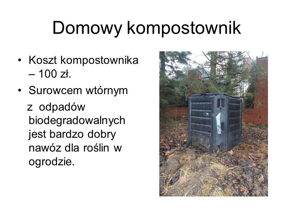 Domowy kompostownik Koszt kompostownika – 100 zł. Surowcem wtórnym