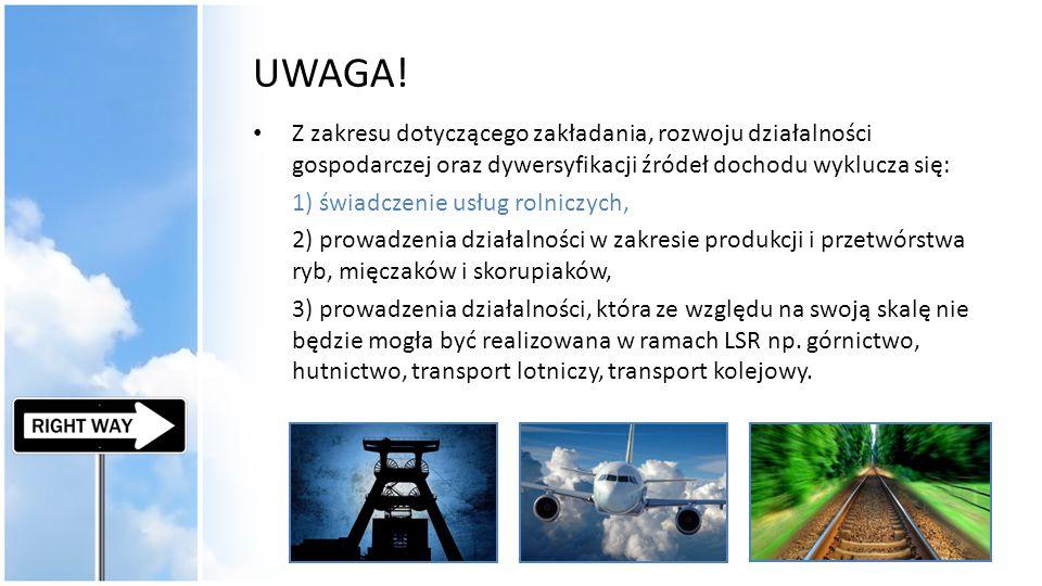 UWAGA! Z zakresu dotyczącego zakładania, rozwoju działalności gospodarczej oraz dywersyfikacji źródeł dochodu wyklucza się: