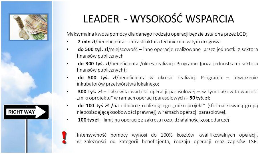 LEADER - WYSOKOŚĆ WSPARCIA