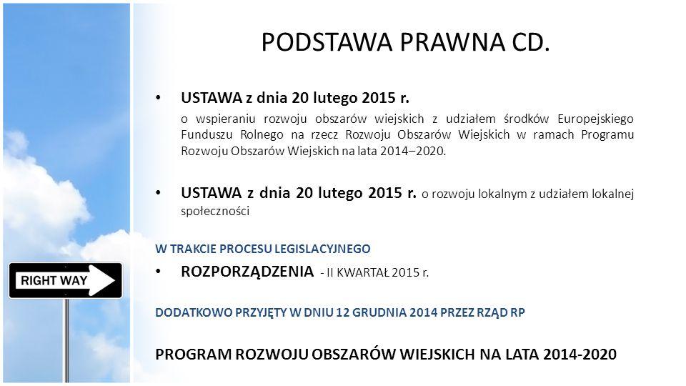 PODSTAWA PRAWNA CD. USTAWA z dnia 20 lutego 2015 r.